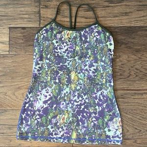 Size 8 Lululemon Floral White Multi Power Y Tank